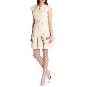 Ted Baker Cream Carisa Metallic Jacquard Dress